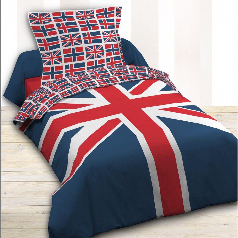 parure de lit london 140 x 200 cm. Black Bedroom Furniture Sets. Home Design Ideas
