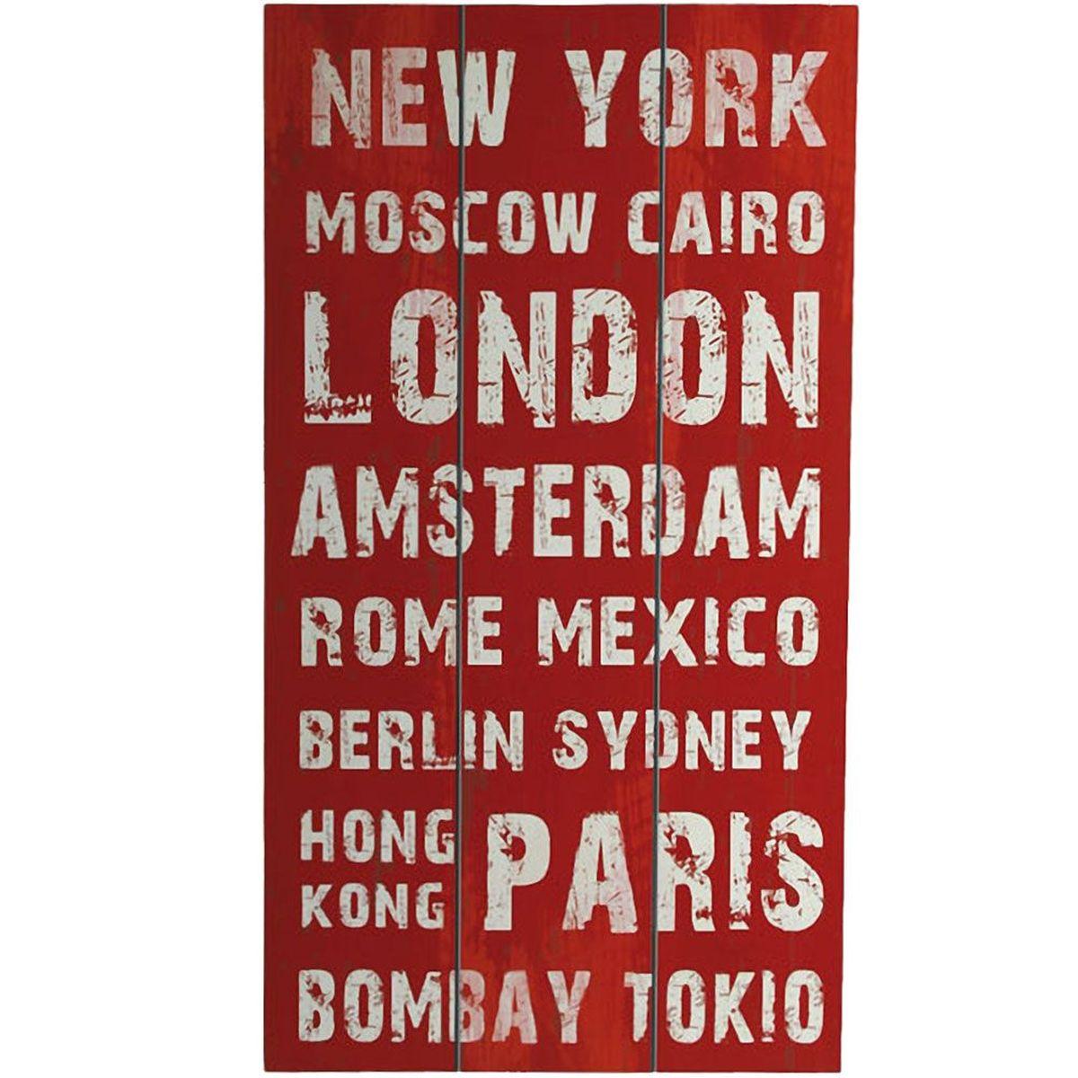 Grande d coration murale en bois new york rouge for Decoration murale new york