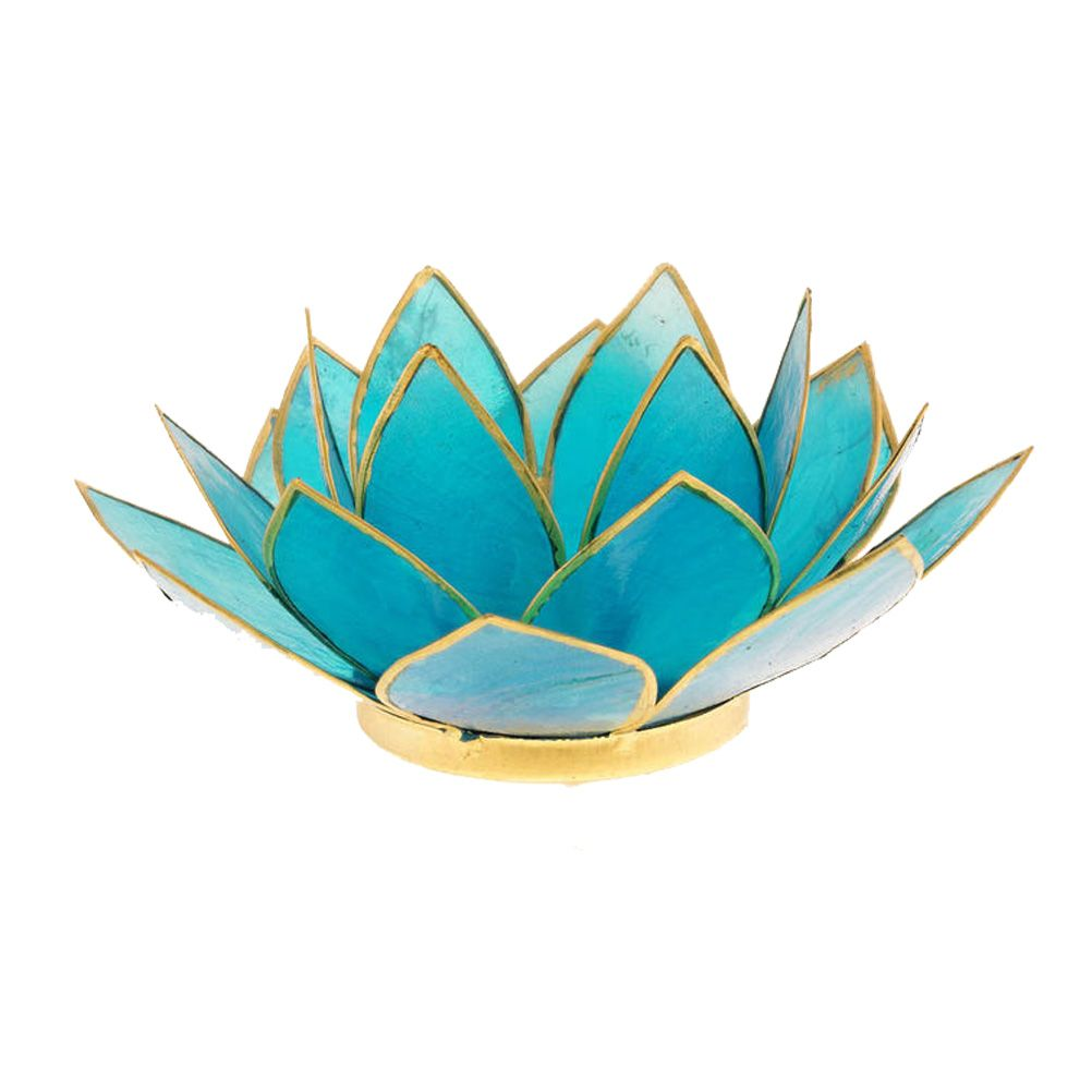 porte bougie fleur de lotus bleu et or 5 me chakra. Black Bedroom Furniture Sets. Home Design Ideas