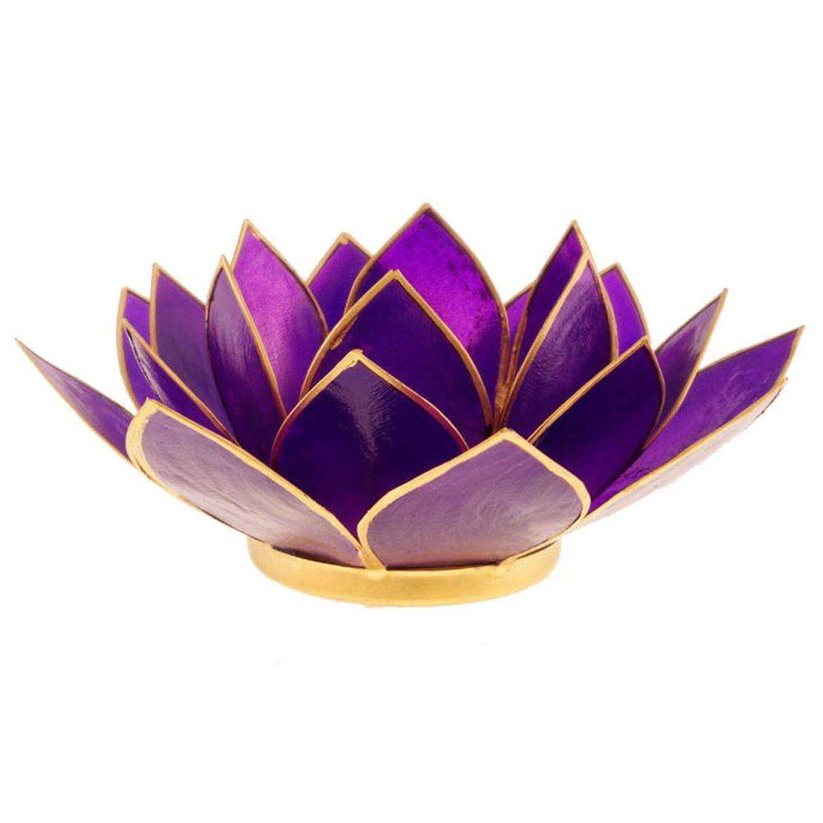 porte bougie fleur de lotus violet et argent 7 me chakra. Black Bedroom Furniture Sets. Home Design Ideas