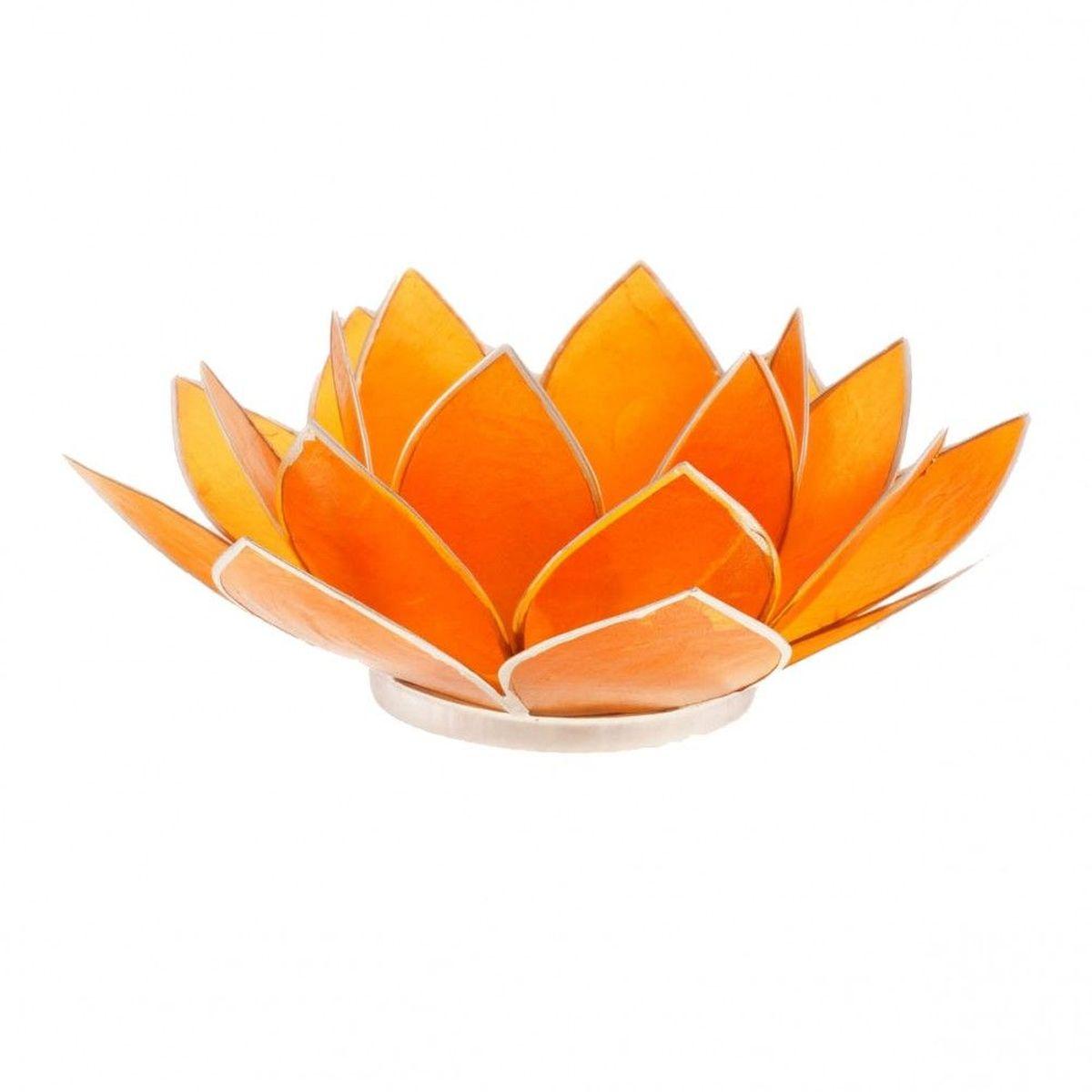 porte bougie fleur de lotus orange et argent 2nd chakra. Black Bedroom Furniture Sets. Home Design Ideas