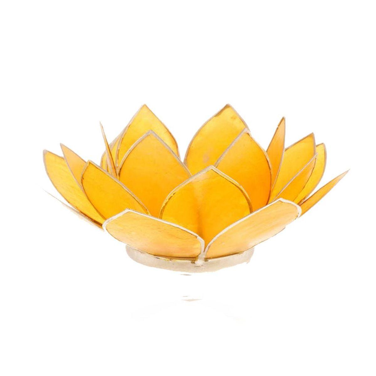 porte bougie fleur de lotus jaune et argent 3 me chakra. Black Bedroom Furniture Sets. Home Design Ideas