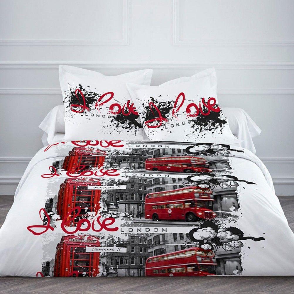 parure de lit london 220 x 240 cm. Black Bedroom Furniture Sets. Home Design Ideas