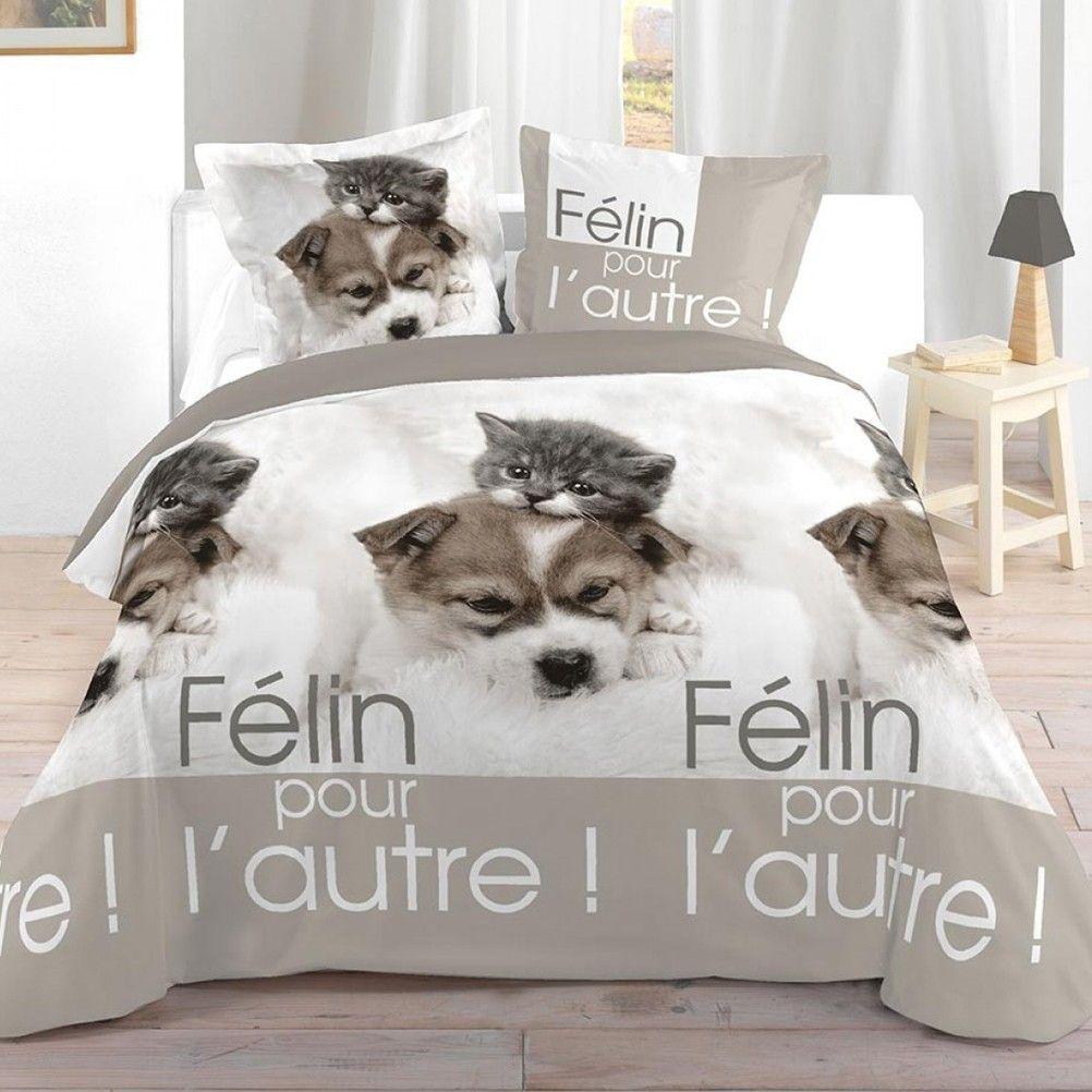 parure de lit chien et chat 240 x 220 cm. Black Bedroom Furniture Sets. Home Design Ideas