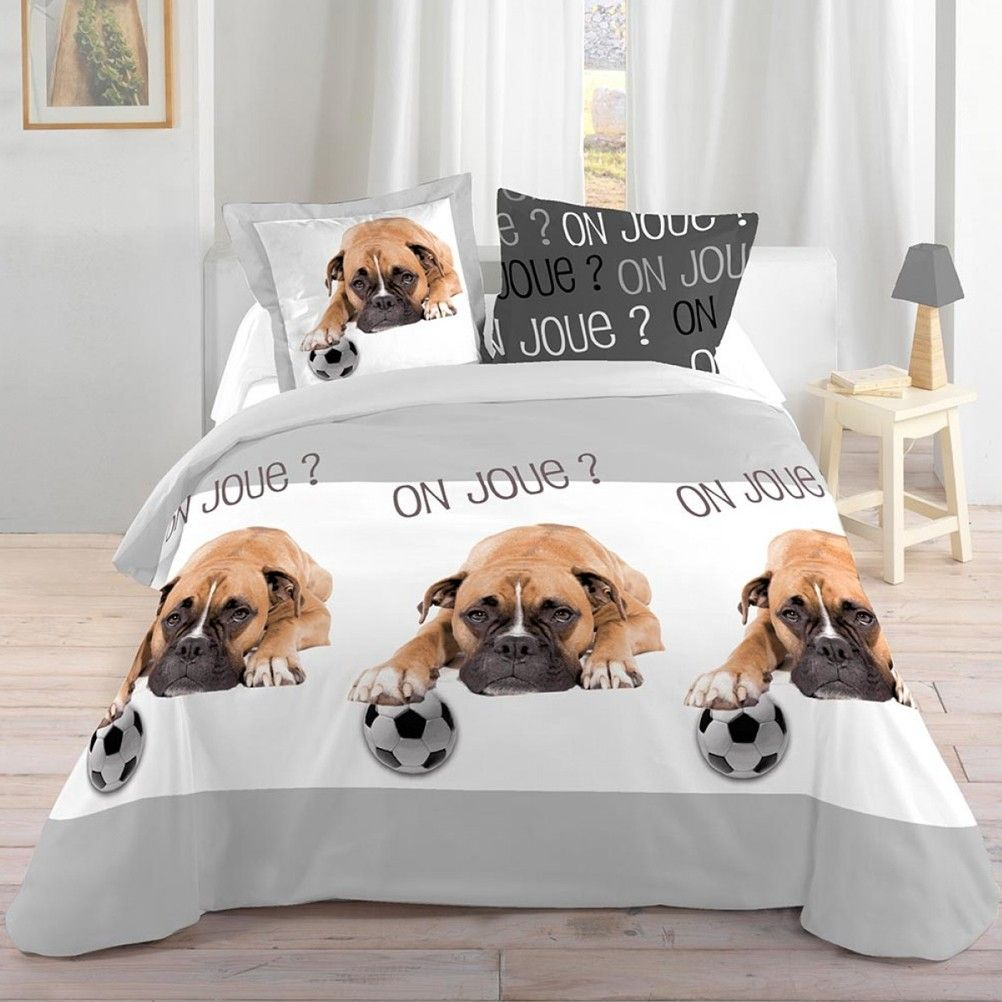 parure de lit chien et ballon 140 x 200 cm. Black Bedroom Furniture Sets. Home Design Ideas