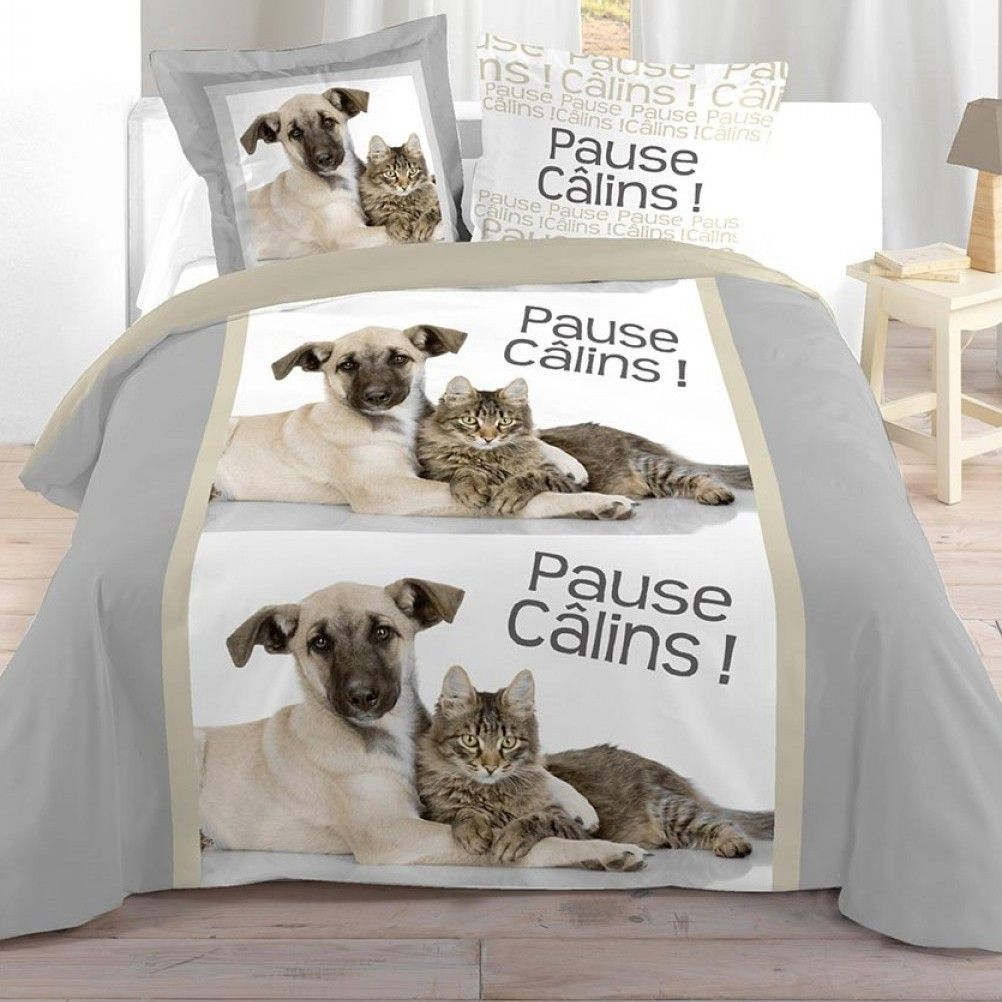 parure de lit chien et chat 240 x 220 cm. Black Bedroom Furniture Sets. Home Design Ideas