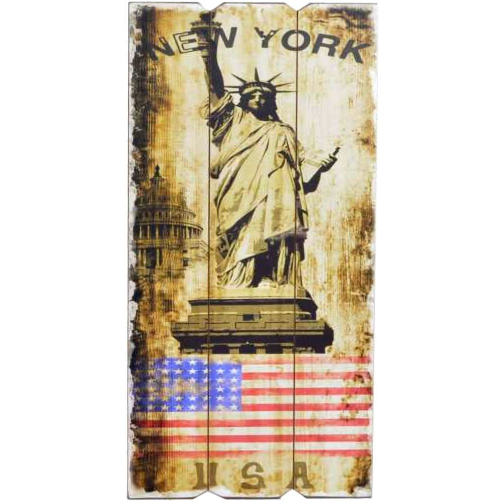 Grande d coration murale en bois new york for Decoration murale new york