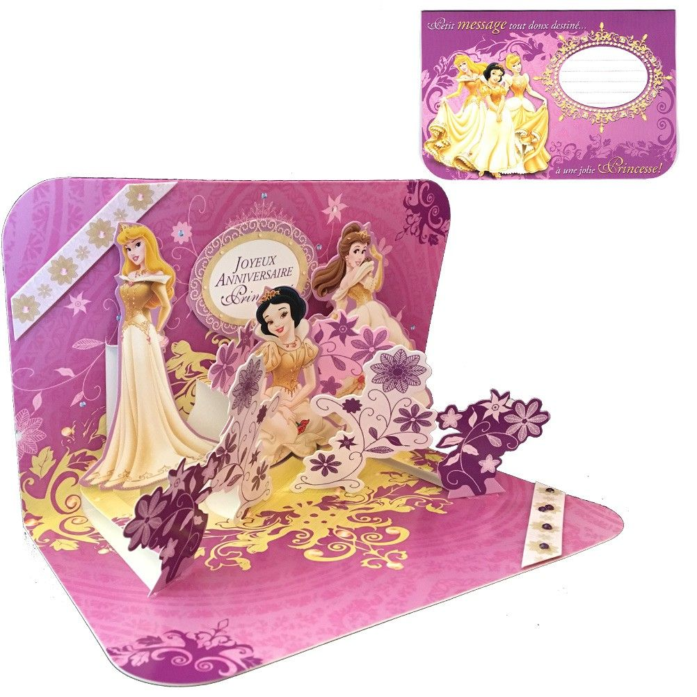carte anniversaire 3d disney disney princesses. Black Bedroom Furniture Sets. Home Design Ideas