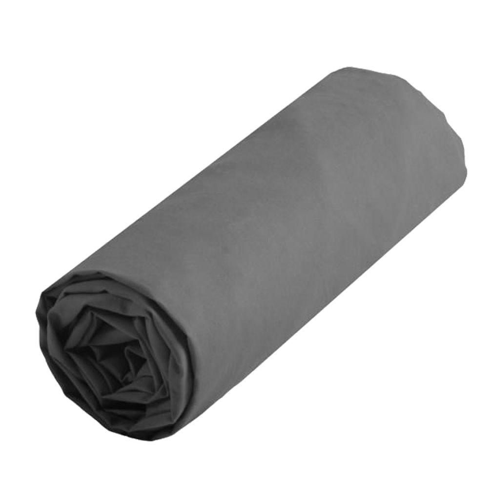 drap housse gris uni 90 x 190 cm