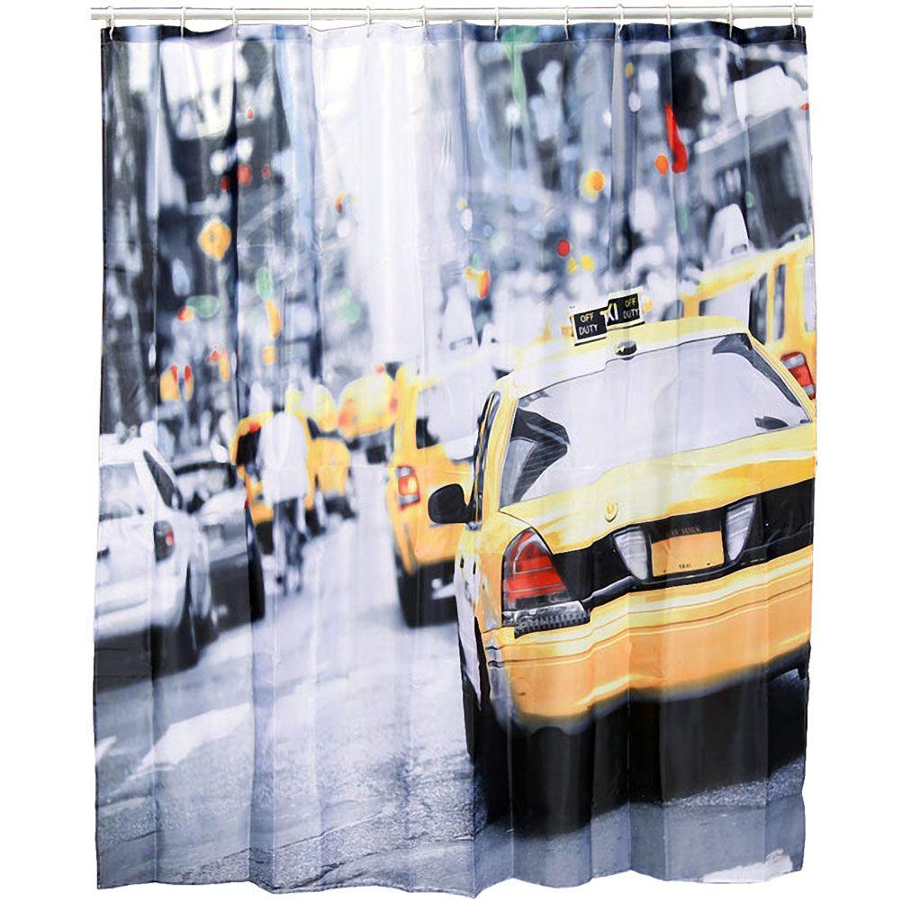 rideau de douche usa jaune et gris 180 x 180 cm. Black Bedroom Furniture Sets. Home Design Ideas