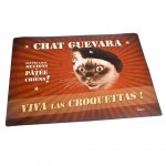 Tapis de gamelles rectangulaire en PVC Chat Guevara