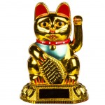 Figurine solaire chat porte chance