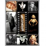 Lot de 9 mini-magnets Hollywood